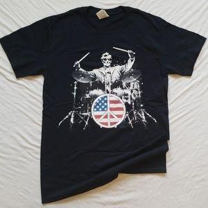 Patriotic Tshirt Rock 101 Lincoln Drums Mens Tee